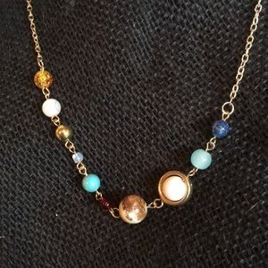NWT Gold Tone Planets / Galaxy Necklace